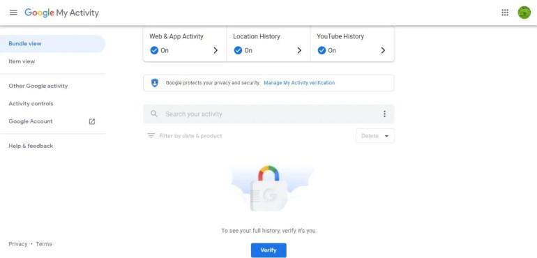Google My Activity Password