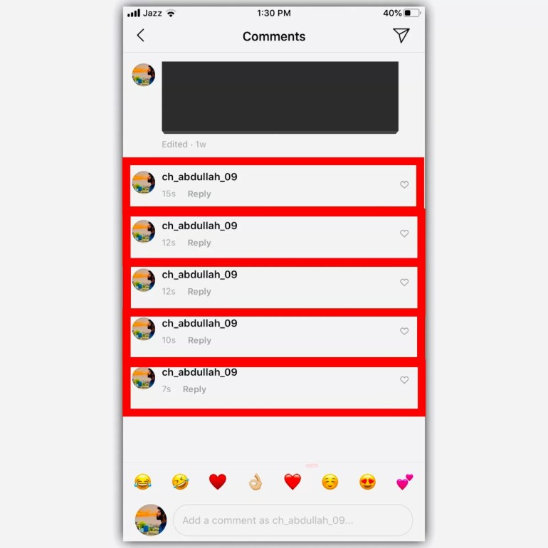 How to comment nothing on Instagram