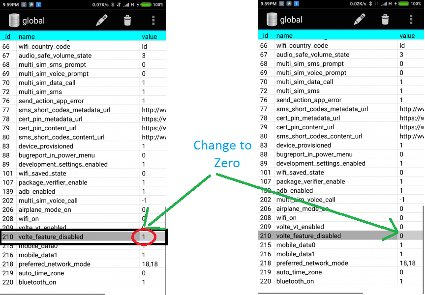 Volte_feature_disabled value chage in Xiaomi
