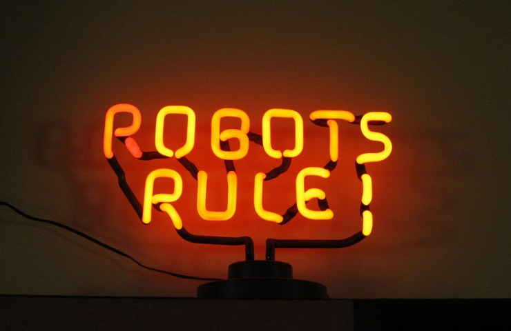 Robots Rule! neon sign photo by Tantek Çelik