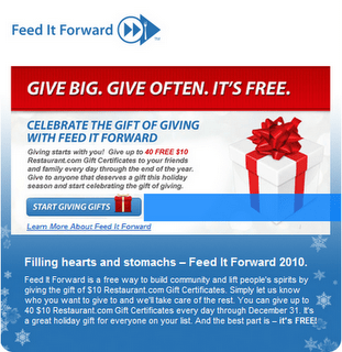 Feed it Forward with Restaurant.com
