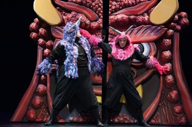 L-R: Phillip Reid as Monmon and Tia Shearer as Nakamon. Anime Momotaro at Imagination Stage now through March 10. Photo credit: Margot Schulman.