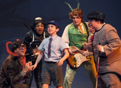 - James has a plan to save the day in James and the Giant Peach at Imagination Stage. L to R: Eric Messner as Centipede, Lauren Du Pree as Miss Spider, Ian Berlin as James, Matthew Schleigh as Grasshopper, Leigh Jameson as Ladybug, and Phillip Reid as Earthworm.