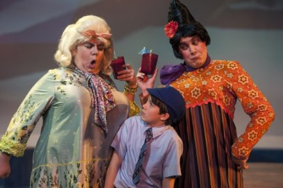 James (Sean Silvia - center) is bossed around by his mean aunts (L to R - Phillip Reid and Joe Brack) in James and the Giant Peach at Imagination Stage