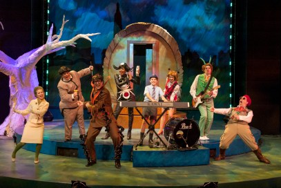 The Company of James and the Giant Peach at Imagination Stage. L to R: Megan Graves as the Mayor's wife, Phillip Reid as Earthworm, Eric Messner as Centipede, Lauren Du Pree as Miss Spider, Sean Silvia as James, Leigh Jameson as Ladybug, Matthew Schleigh as Grasshopper, and Joe Brack as the Director.