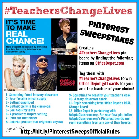 Office Depot REAL Change #TeachersChangeLives Pinterest Sweepstakes 3