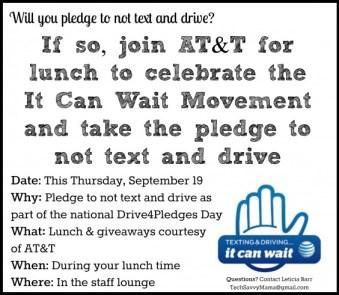 ATT #ItCanWait Staff Lunch Invitation