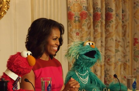 Michelle Obama with Elmo and Rosita