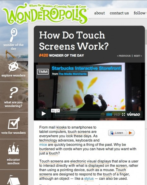 Wonderopolis- How do touch screens work?