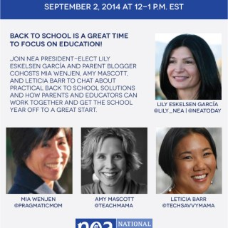Join me and the NEA for a Back to School Twitter Chat #NEAB2S 9/2 from 12-1 pm