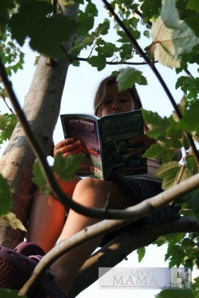 Reading Under the Stars in a Tree