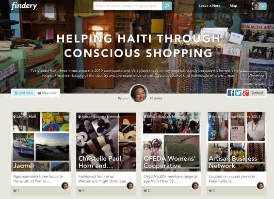 TechSavvyMama's Findery Notemap on Helping Haiti Through Conscious Shopping