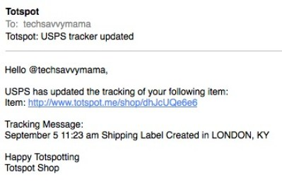 TotSpot Shipping Confirmation