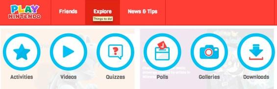Play Nintendo- Navigate using the Explore tab