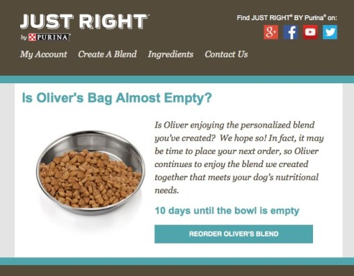 Email Re-order Reminder from Just Right by Purina