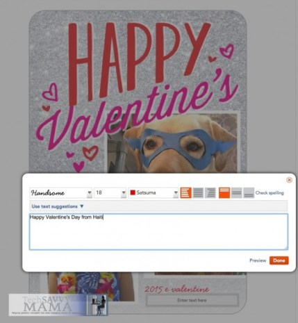 Customizing font and greeting on Shutterfly holiday cards. Tips on TechSavvyMama.com