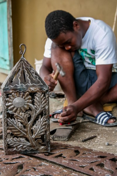 Oil Drum Lantern in Croix des Bouquets, Haiti