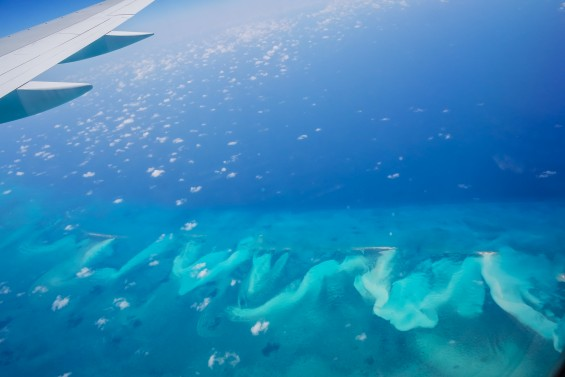 Caribbean Blue- View from the Airplane en route to Port au Prince