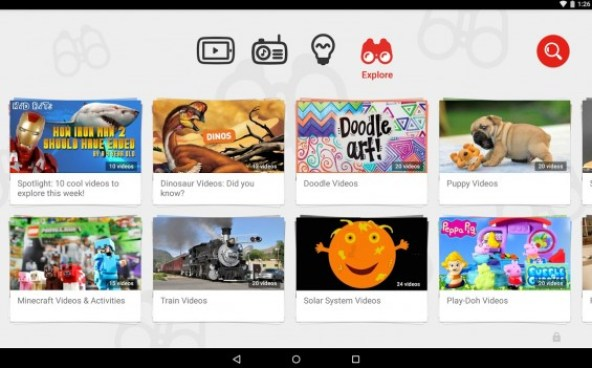 Searching for videos by topic on YouTube Kids App:
