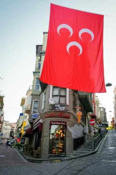 Cobblestones and crescents on Ihlamurdere Cd, Istanbul (Photo: Leticia Barr, TechSavvyMama.com ©2015)