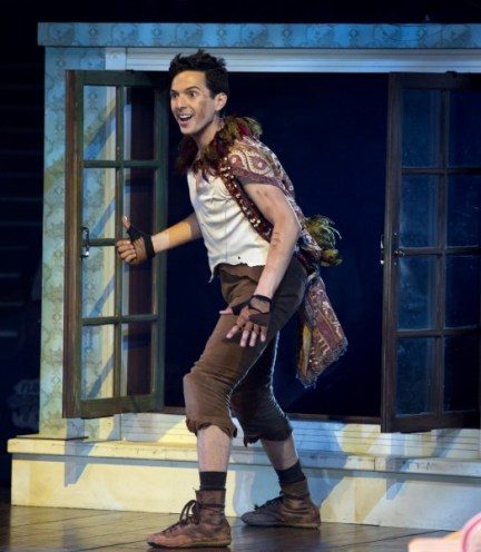 Peter Pan (Dan Rosales) visits the Darling children in PETER PAN at the Threesixty Theatre now through August 16. Photo credit: Jeremy Daniel