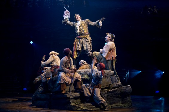 Hook (Stephen Carlile) and his pirates in PETER PAN at the Threesixty Theatre now through August 16. Photo credit: Jeremy Daniel