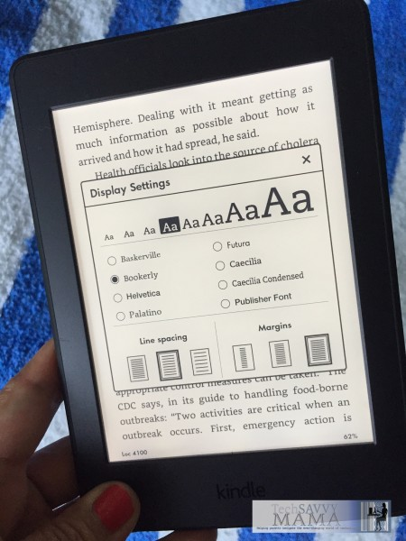3 Reasons Why You'll Love the New Kindle Paperwhite: #3: Customizing fonts preserves page layout. Read the other 2 at TechSavvyMama.com