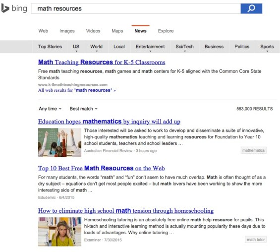 Bing Math Resource Search Screen Shot