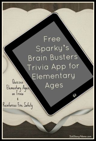 Free Sparky's Brain Busters Trivia App for Elementary Ages. Details on TechSavvyMama.com