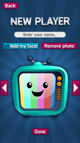 Sparky's Brain Busters App: personalization screen.