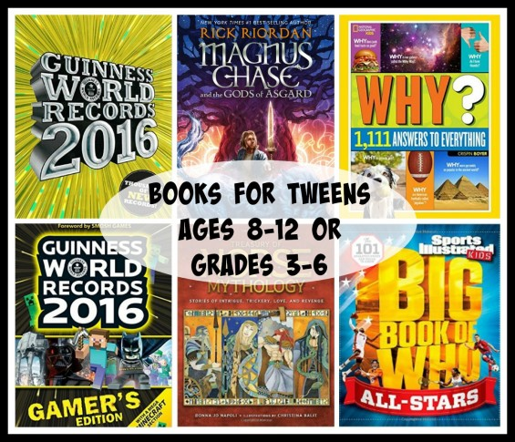 Best Books for Tweens (ages 8-12 or grades 3-6) featured on TechSavvyMama.com's 2015 Gift Guide