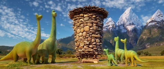 THE GOOD DINOSAUR - Pictured (L-R): Momma, Poppa, Arlo, Buck, Libby. ©2015 Disney•Pixar. All Rights Reserved.