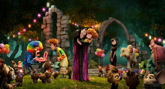 Jonathan (Andy Samberg), Dracula (Adam Sandler), Dennis (Asher Blinkoff) and Mavis (Selena Gomez) in Columbia Pictures and Sony Picture Animation's HOTEL TRANSYLVANIA 2.