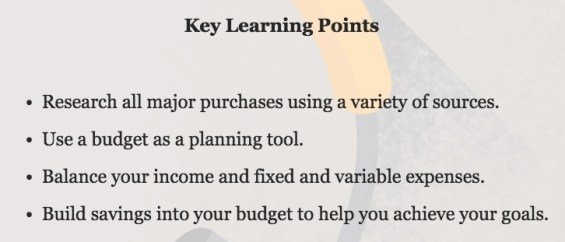 Example of Key Learning Points for Earn Your Digital Future Lab Module. Additional details on TechSavvyMama.com