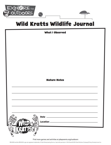 Wild Kratts Writing Journal template from PBS Kids and more unplugged Earth Day fun on TechSavvyMama.com