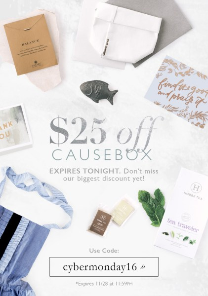 Causebox CyberMonday $25 off