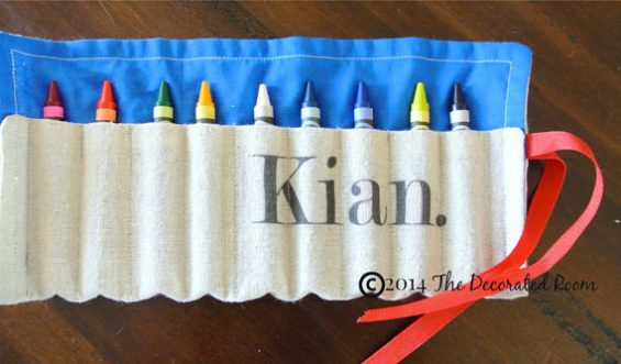 Personalized Crayon Roll from DecoratedRoom on Etsy ($12.50) is a 2016 TechSavvyMama.com gift guide pick for toddlers and preschoolers.