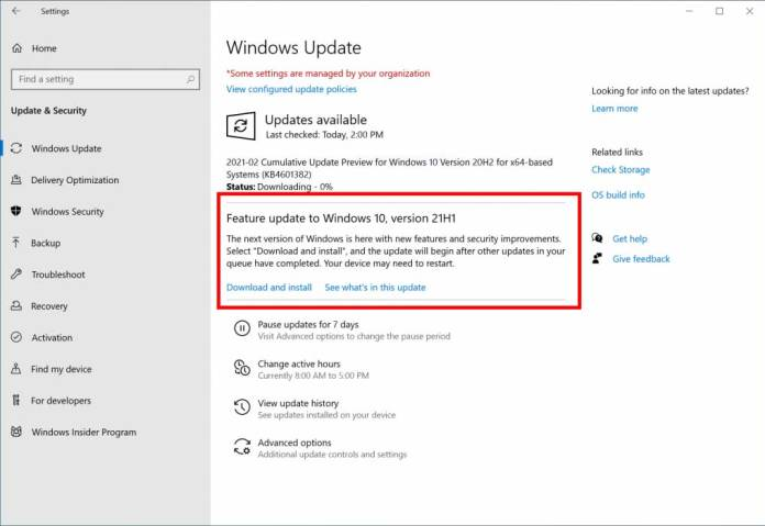 Download Windows 10 21H1 feature update