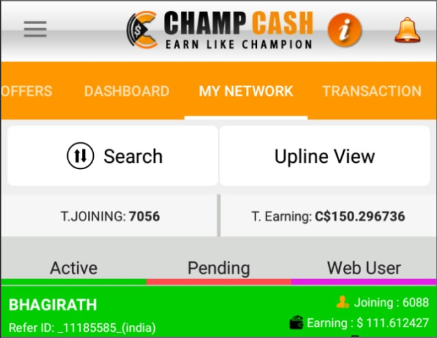 Champcash-Earning-Proof