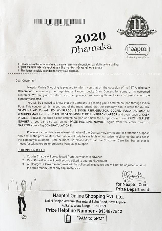 Naaptol-Fraud-Letter