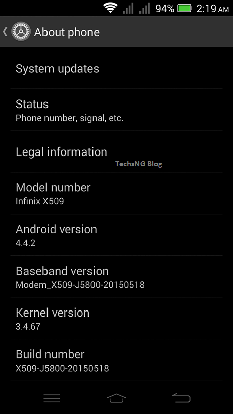 Stock font on the infinix zero 2 x509 phone