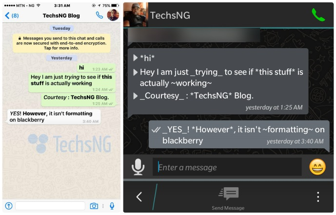 whatsapp bold, italic and strikethrough formatting features
