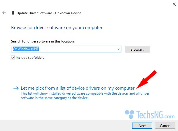 pick from a list of device drivers on my computer