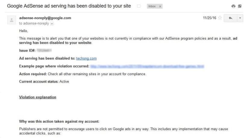 Google Adsense Ad serving disabled