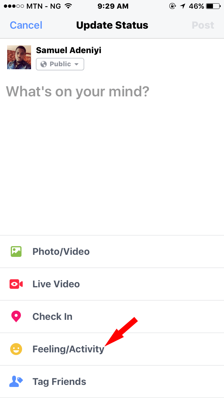 feeling activity option on facebook