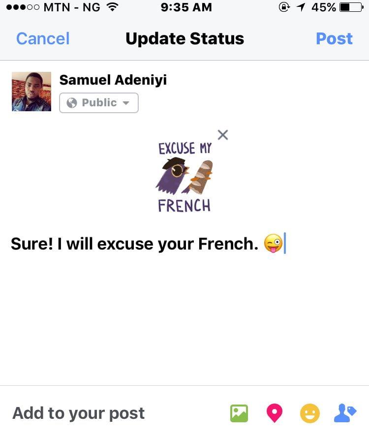 sticker added to facebook status update