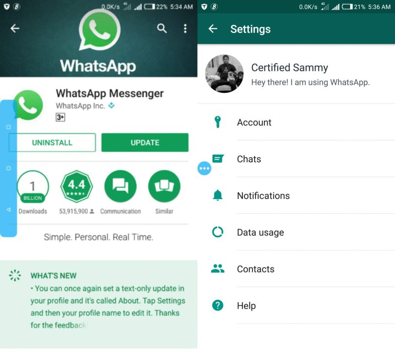 Old WhatsApp status update using text