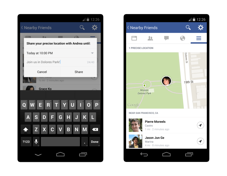 facebook location tracking on Messenger