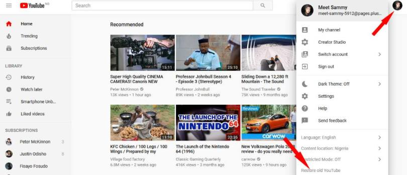 restore old youtube design layout