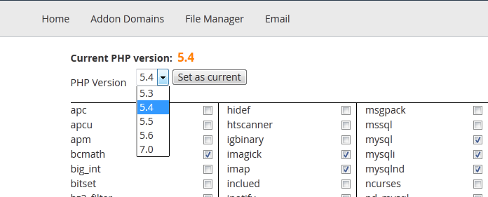 select php version to upgrade to under cPanel